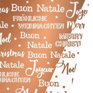 Dubbelzijdig Kerstpapier Merry Xmas Copper