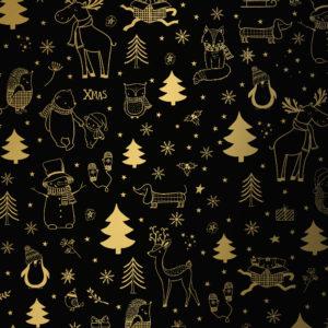 Kerst cadeaupapier Black Gold Kerstmis