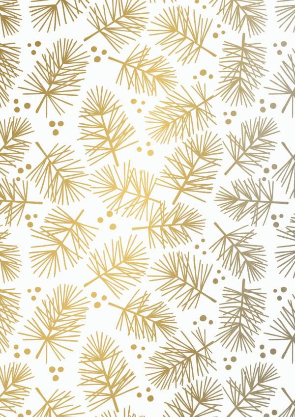 Kerst Cadeaupapier Pine Gold Coated