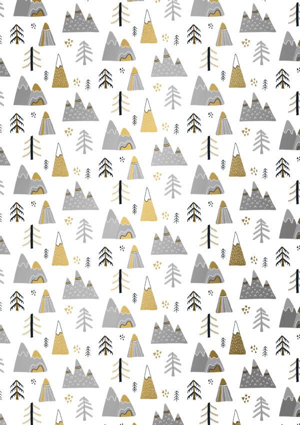 Kerst kadopapier Goud Zilver Landschap