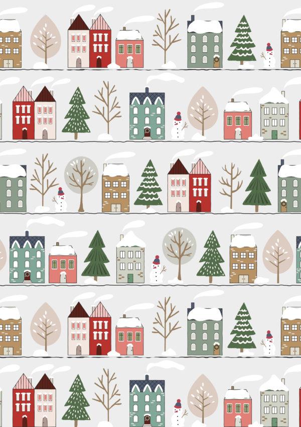 Kerstpapier Kersthuisjes Sneeuwlandschap
