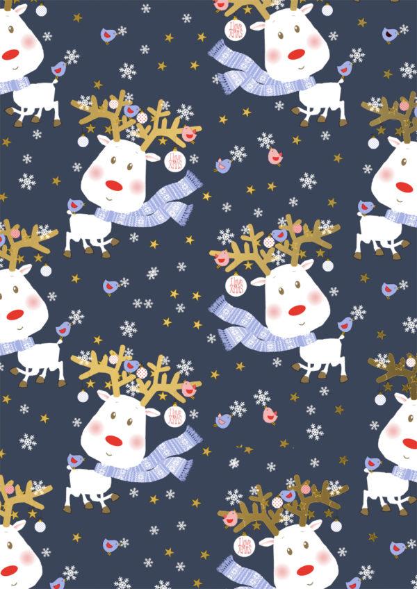 Cadeaupapier Kerst Rudi Reindeer Blauw