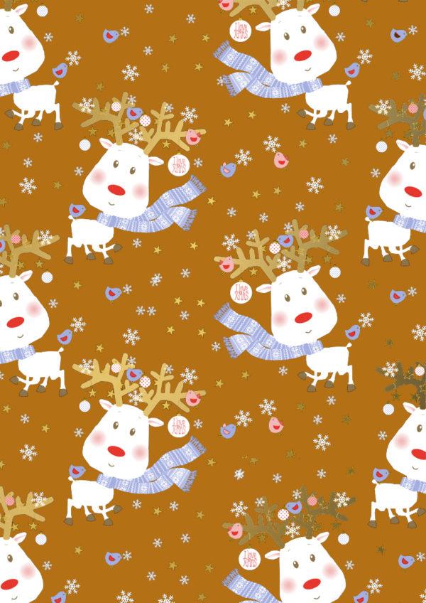 Kerst kadopapier Rudi Reindeer Oranje