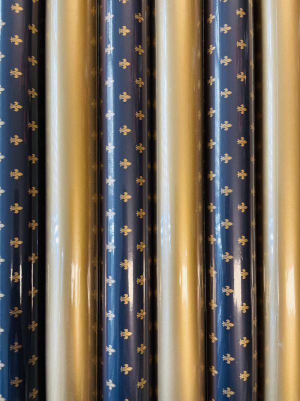 Inpakpapier Goud Blauw Luxe 6 rolletjes