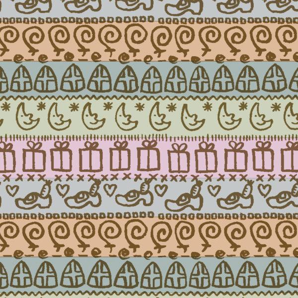 Inpakpapier Sinterklaas pastelkleuren