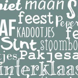 Cadeaupapier Sinterklaas Handlettering Groen