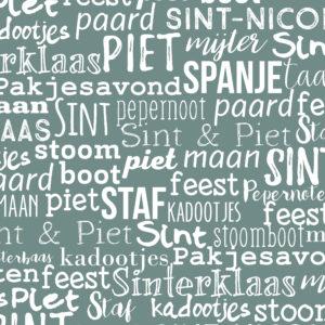 Cadeaupapier Sinterklaas Handlettering Blauw