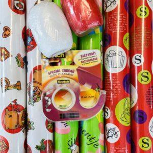 Inpak Set Sinterklaas Cadeaupapier incl Plakband en Lint
