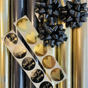 Inpak Set Kerst Goud Zwart incl Stickers